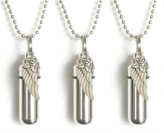 "Set of THREE Silver ""Wing with Rose"" Anointing Oil Holders / Vials - Includes 3 Velvet Pouches, 3 Ball Chain Necklaces, 3 Dropper Pipettes"