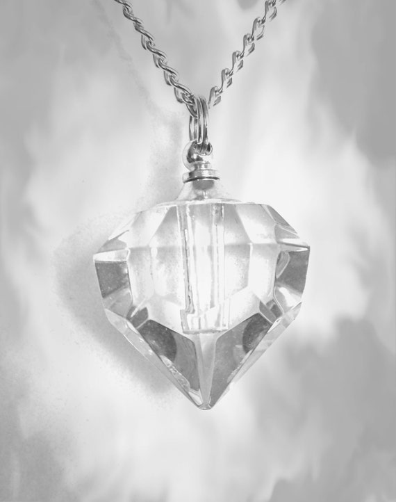 """Clear Crystal Diamond CREMATION URN on 24"""" Silver Curb Link Necklace with Velvet Pouch and Mini Funnel"""
