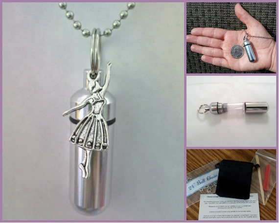 """COMPLETE SET - Cremation Urn & Vial on 24"""" Necklace with BALLERINA - Hand Assembled....w/Velvet Pouch and Fill Kit"""
