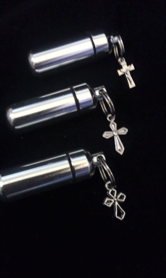 Antique Cross  TRIO Special Set -  3 Cremation Urns in Velvet Pouches with Fill Kit