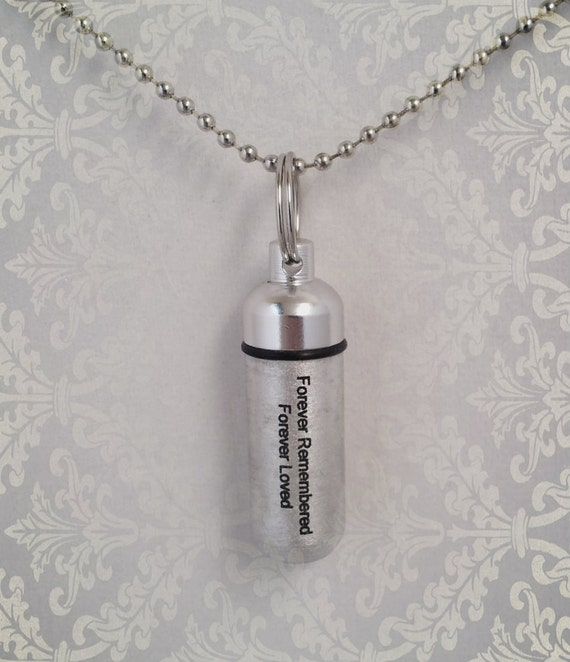 """Engraved  Cremation Urn Necklace """"Forever Remembered, Forever Loved""""  2-tone Brushed Silver Finish - Includes Velvet Pouch and Fill Kit"""