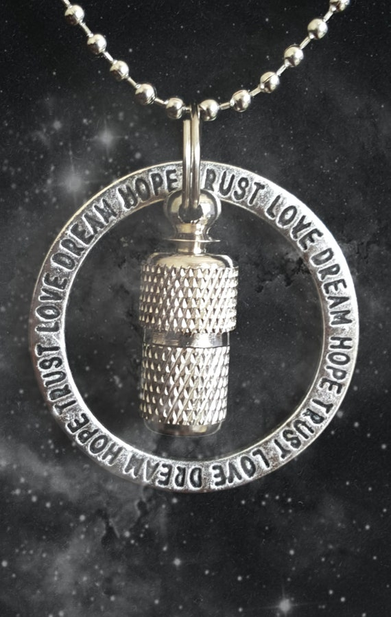 """Forever Ring """"Love Dream Hope Trust""""  MINI CREMATION Necklace - Hand Assembled....  Includes Velvet Pouch and Fill Kit"""