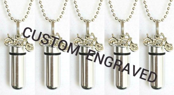 CUSTOM ENGRAVED Set of FIVE Brushed Silver Motorcycle Cremation Urn Necklace Keepsakes with 5 Velvet Pouches, 5 Ball-Chains & Fill Kit