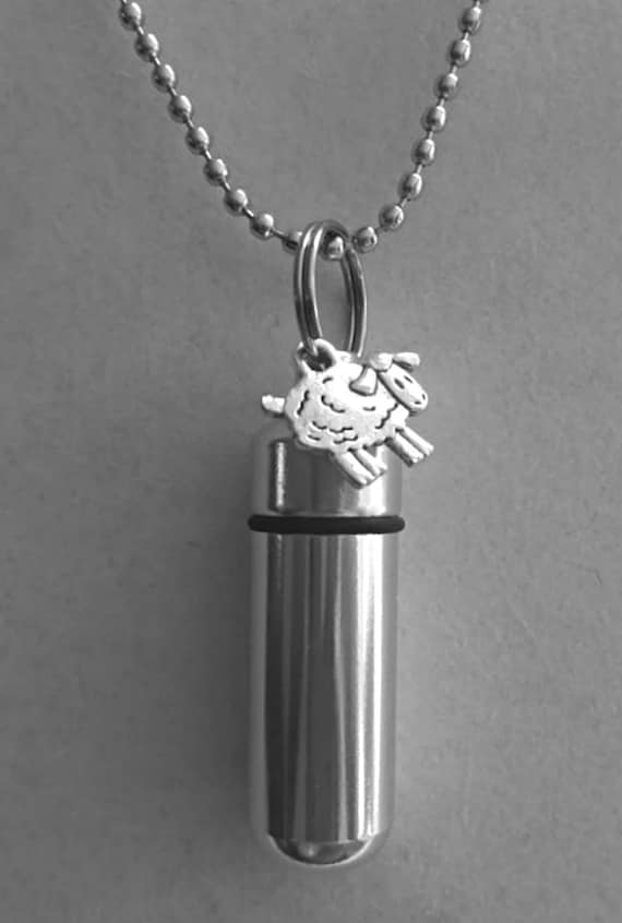 "Lovely Silver Sheep/Lamb CREMATION URN Necklace/Keepsakes -  With Velvet Pouch, 24"" Ball-Chain & Fill Kit"