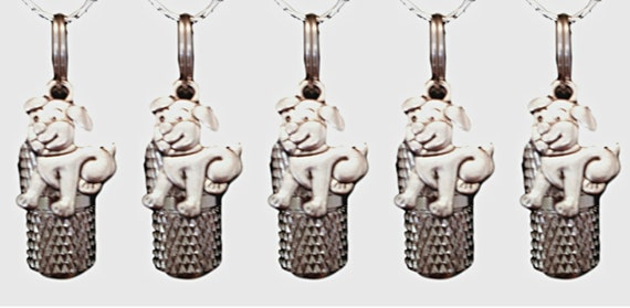 Set of FIVE Faceted Mini Pet Cremation Urns on Curb Chain Necklaces  w/PUPPY DOGs - Hand Assembled - Includes Velvet Pouches & Fill Kit