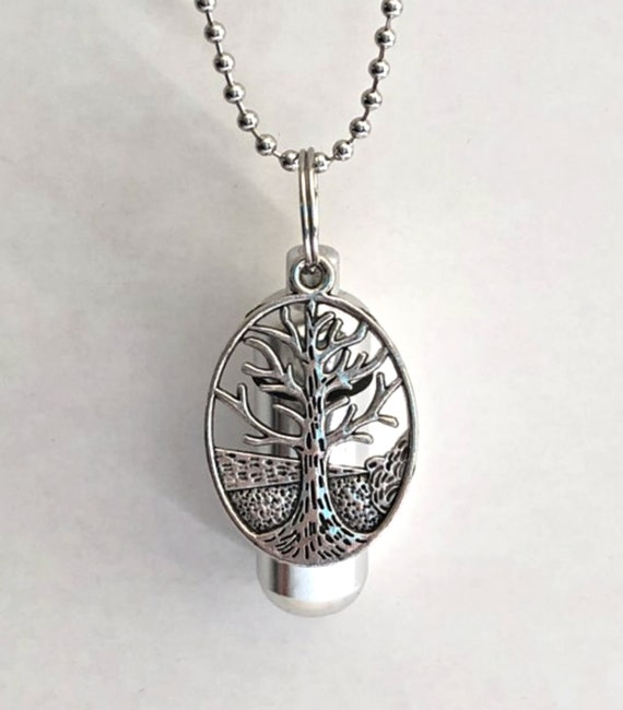 "Large Oval Tree Of Life CREMATION URN & Vial - Includes 24"" Ball Chain Necklace, Velvet Pouch and Fill Kit"