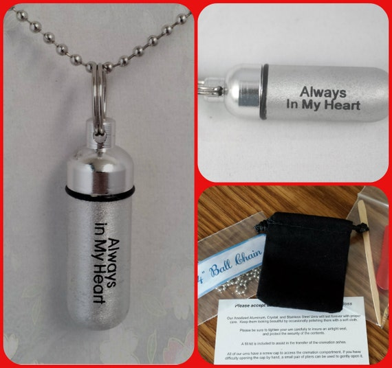 """Engraved """"Always In My Heart""""   - Cremation Urn Necklace - Custom Hand Assembled.... with Velvet Pouch and Fill Kit"""