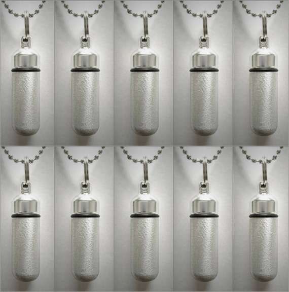Classic Set of TEN Brushed Silver CREMATION URN Necklace Keepsakes with 10 Velvet Pouches, 10 Ball-Chains & Fill Kit