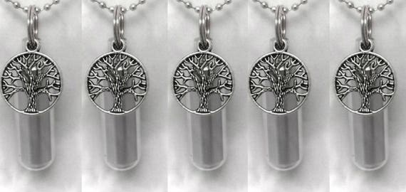 FIVE Silver Tree Of Life Cremation Urn Necklaces / Ashes Necklace / Cremation Jewelry / Urn For Ashes  - with 5 Velvet Pouches & Fill Kit