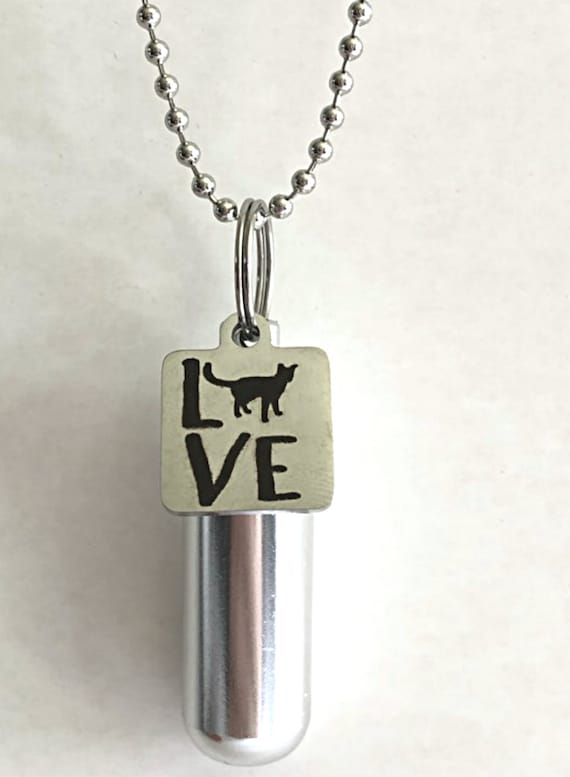 "Personal CREMATION URN Necklace with Laser Engraved ""LOVE with Cat"" Charm - Includes Velvet Pouch, Ball Chain, Fill Kit"