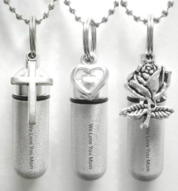"""Three Engraved CREMATION URN NECKLACES """"We Love You Mom""""  Brushed Silver with Rose, Open Heart & SImple Cross - with Velvet Pouches"""