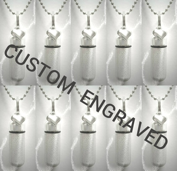 CUSTOM ENGRAVED Set of TEN Brushed Silver Heart Cremation Urn Necklace Keepsakes with 10 Velvet Pouches, 10 Ball-Chains & Fill Kit