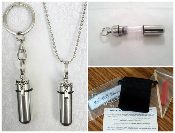 Floral Cross 2pc. Special Set - Cremation Urn Necklace & Keychain Urn and Velvet Pouch