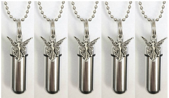 Special Set of FIVE - Silver CREMATION URN Necklaces with Silver Fairy Angels - includes 5 Velvet Pouches, 5 Ball-Chains & Fill Kit