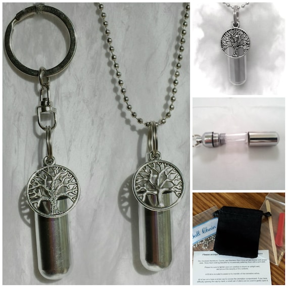 TREE OF LIFE 2pc Special Set - Cremation Urn Necklace & Keychain Urn with Velvet Pouch and Fill Kit