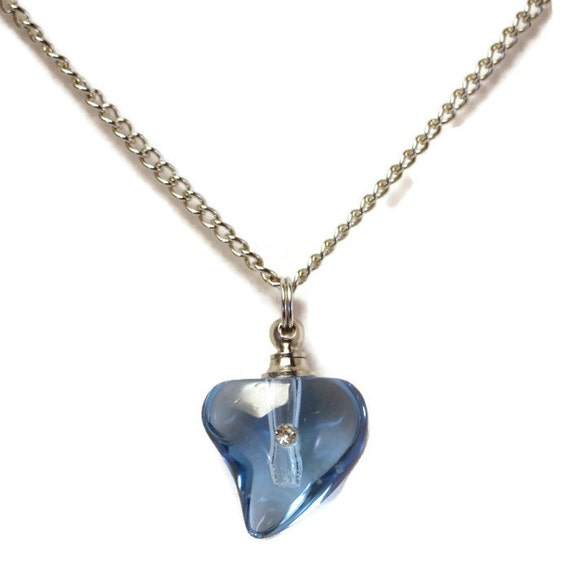 "Beautiful Blue Crystal Heart with Rhinestone CREMATION URN on 24"" Silver Curb-Link Necklace  -  with Velvet Pouch & Funnel"