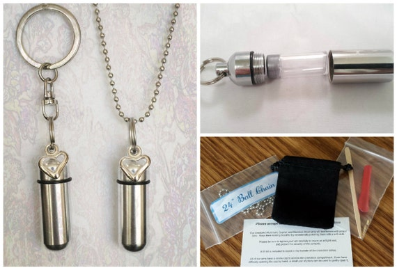 Silver OPEN HEART 2pc. Cremation Urn Set - One Necklace Urn & One Keychain Urn with Velvet Pouches