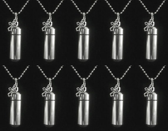 10 PIECE SPECIAL SET - Silver Cremation Urn / Vial Keepsake with Silver Antique Cross - with 10 Velvet Pouches, 10 Ball Chains & Fill Kit