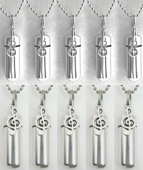 Musical Set of TEN CREMATION URNS with (5) Treble Clefs and (5) Violins - Includes 10 Pouches, 10 Ball Chains, Fill Kit