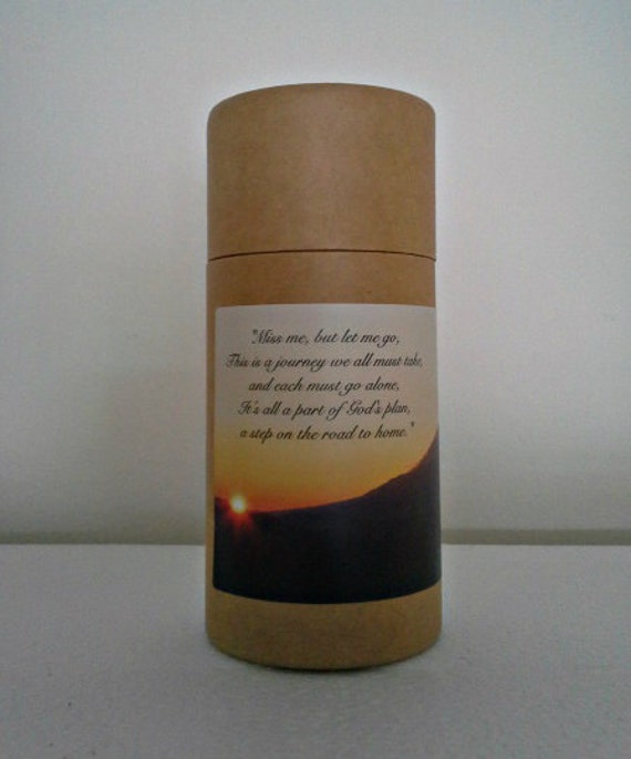 """Eco-Friendly Cremation Urn Scattering Tube w/Telescopic Lid - Natural/Biodegradable - Style """"Sunset"""""""