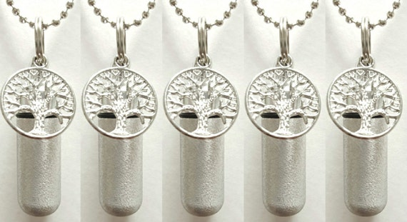 """Set of 5 Brushed Silver """"Tree Of Life"""" ANOINTING OIL Vial/Canisters with 5 Velvet Pouches, 5 Steel Ball-Chain Necklaces & 5 Pipette Droppers"""