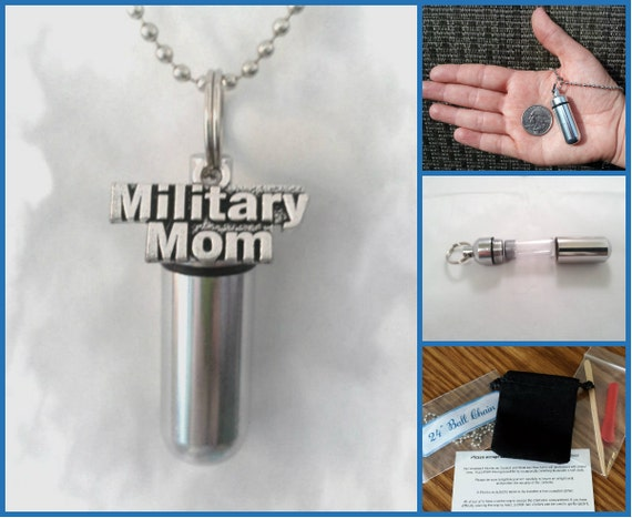 """COMPLETE SET - Cremation Urn & Vial on 24"""" Necklace - Military Mom - Hand Assembled....w/Velvet Pouch and Fill Kit"""