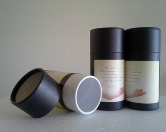 "SET OF THREE Eco-Friendly Cremation Urn Scattering Tubes w/Telescopic Lids - Black/Biodegradable - Style ""Essence"""