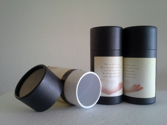 """SET OF THREE Eco-Friendly Cremation Urn Scattering Tubes w/Telescopic Lids - Black/Biodegradable - Style """"Essence"""""""