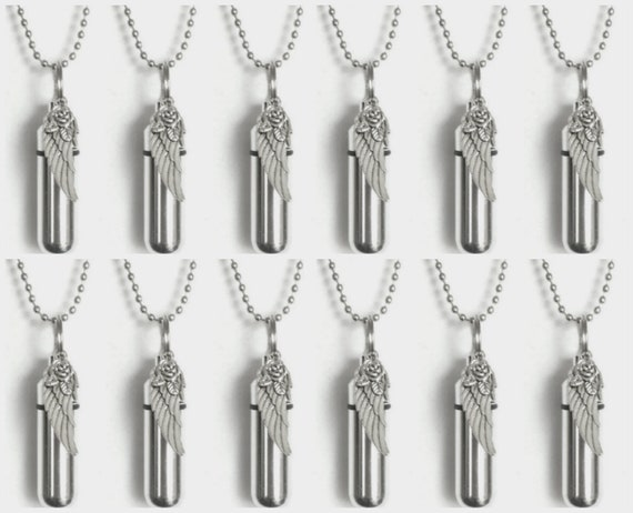 One Dozen (12) Silver CREMATION URN Necklaces with Silver Angel Wing with Rose - Includes 12 Velvet Pouches, 12 Steel Ball Chains & Fill Kit