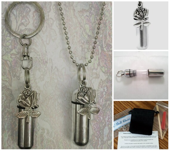 Silver ROSE  2pc. Special Set - Cremation Urn Necklace & Keychain Urn and Velvet Pouches