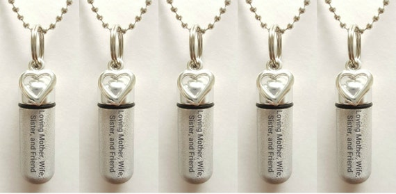 """Set of 5 ENGRAVED Brushed Silver CREMATION URN Necklaces """"Loving Mother Wife Sister and Friend  - w/Open Hearts,  Velvet Pouches & Fill-Kit"""