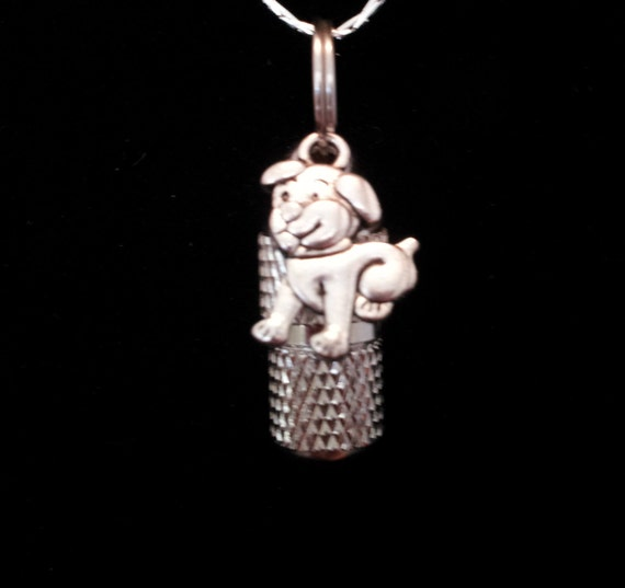 "MINI Pet Cremation Urn & Vial on 18"" Necklace  with Puppy Dog - Custom Hand Assembled....  Includes Velvet Pouch and Fill Kit"
