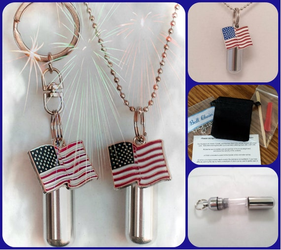 Colorful American FLAG  2pc. Special Set - Cremation Urn Necklace & Keychain Urn and Velvet Pouches