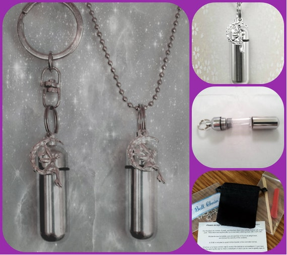 Fairy Angel on Moon  2pc. Special Set - Cremation Urn Necklace & Keychain Urn and Velvet Pouches