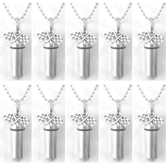 "Family Set of Ten - NASCAR Racing Flag Cremation Urns on 24"" Steel Ball Chain Necklaces - Hand Assembled with Velvet Pouches and Fill Kit"