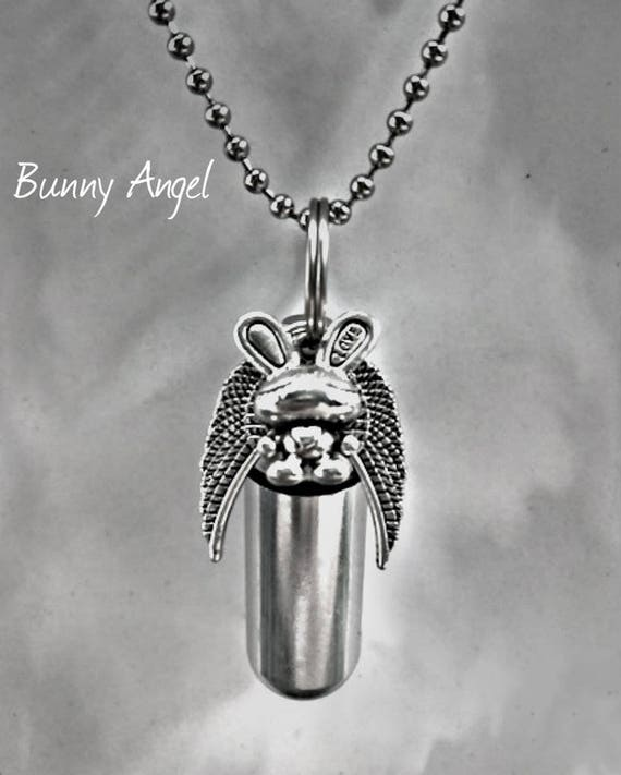 "Adorable Silver Cremation Urn & Vial with Bunny Rabbit Angel Pendant on 24"" Ball Chain Necklace with Velvet Pouch and Fill Kit"