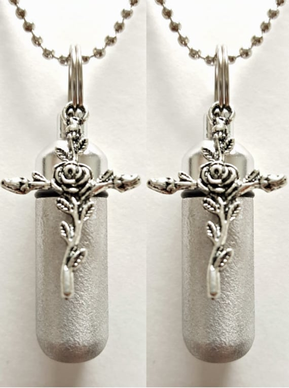 Set of TWO - Brushed Silver Anointing Oil Holders with Vials and Rose Cross - with 2 Velvet Pouches, 2 Ball Chains, & Fill Kit