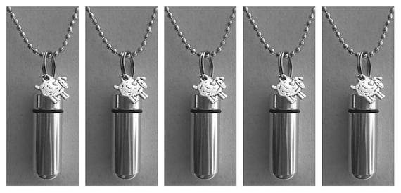 Family Set of FIVE Silver Sheep/Lamb CREMATION URN Necklace/Keepsakes -  With 5 Velvet Pouches, 5 Ball-Chains & Fill Kit