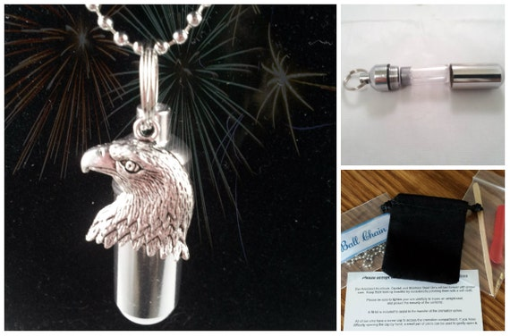 "Complete Set - Silver CREMATION URN & Vial on 24"" Necklace with Patriotic Bald EAGLE - Custom Hand Assembled.... w/Velvet Pouch and Fill Kit"