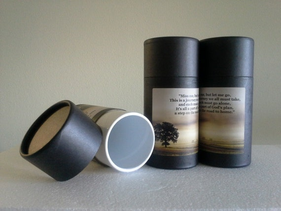 "SET OF THREE Eco-Friendly Cremation Urn Scattering Tubes w/Telescopic Lids - Black/Biodegradable - Style ""Hallowed Ground"""