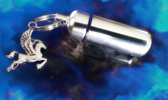 Pegasus Winged Horse - Memorial CREMATION URN Keepsake Keychain -  with Velvet Pouch and Fill Kit