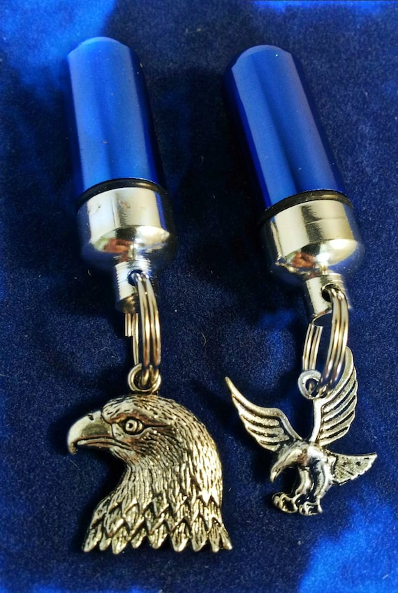 Patriotic Bald & Soaring Eagle -  Blue Cremation Urn Necklace Set of Two in Velvet Pouches with Fill Kit