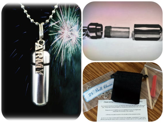 "Complete Set - ARMY Cremation Urn on 24"" Necklace with  - Custom Hand Assembled.... with Velvet Pouch and Fill Kit"