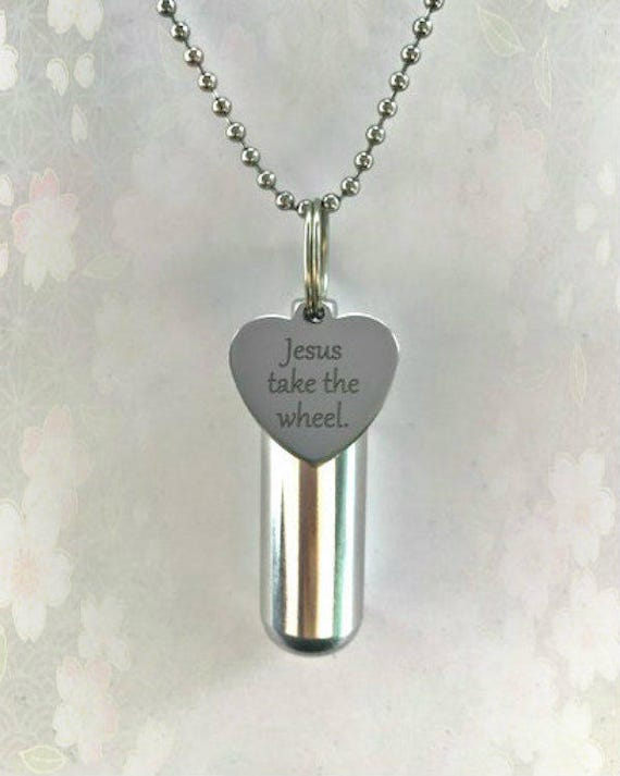 "Personal CREMATION URN NECKLACE engraved with ""Jesus Take The Wheel"" Heart Charm - with Velvet Pouch, Ball Chain, Fill Kit"