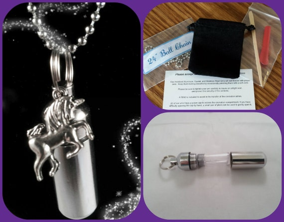 """COMPLETE SET - Cremation Urn & Vial on 24"""" Ball-Chain Necklace  with UNICORN - Custom Hand Assembled.... With Velvet Pouch and Fill Kit"""