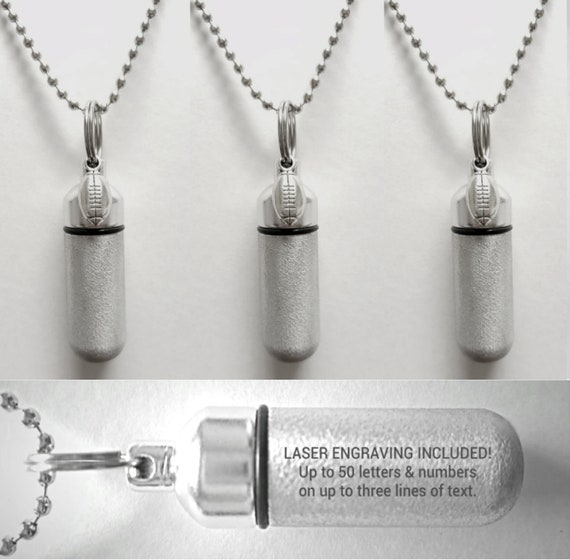 Set of Three Brushed Silver CUSTOM ENGRAVED Football Cremation Urn Necklaces  - Includes 3 Velvet Pouches, 3 Ball-Chains & Fill Kit