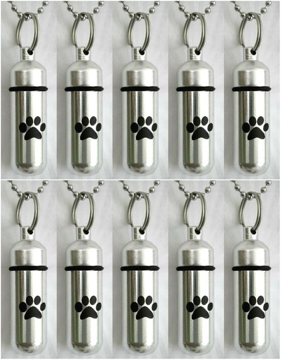 Pet Set of TEN CREMATION URN Necklace Keepsakes with Simple Engraved Paws- Includes 10 Velvet Pouches, 10 Ball-Chains & Fill Kit