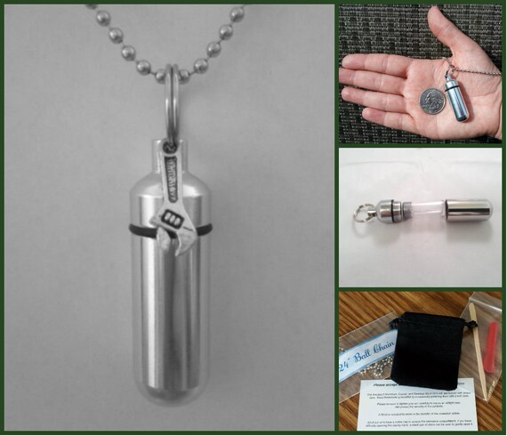 "Complete Set CREMATION URN on 24"" NECKLACE - with Wrench/Tool -  Custom Hand Assembled....w/Velvet Pouch and Fill Kit"