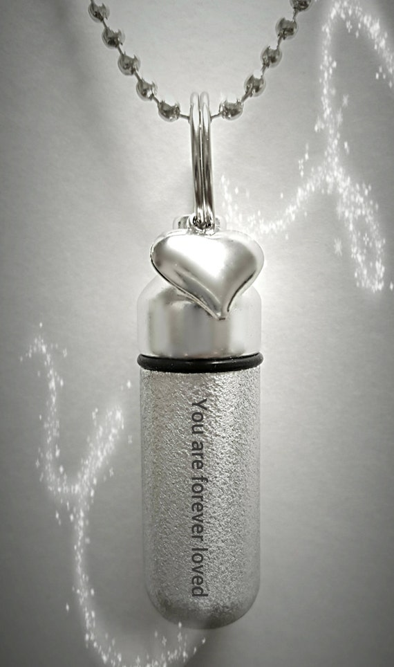 """ENGRAVED Brushed Silver CREMATION URN Necklace """"You are forever loved""""  with Heart Charm - Includes Velvet Pouch & Fill-Kit"""