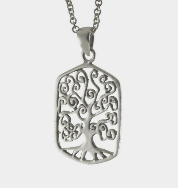 "Elegant Rectangular TREE OF LIFE Pendant on 24"" Stainless Curb Link Necklace in Black Velvet Pouch"
